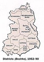 Mapa de las Divisiones Administrativas de la Ex Alemania del Este