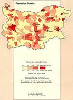 Bulgaria Population Density Map