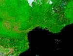 Francia meridional (antes de las inundaciones, falso color)
