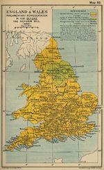Mapa de la Representación Parlamentaria de Inglaterra y del País de Gales en 1832 Antes del Acto Reformatorio de 1832