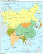 Mapa de la ex Unión Soviética y de Asia Oriental y Meridional