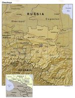 Mapa de Relieve Sombreado de Chechenia, Rusia