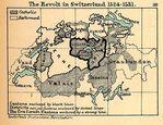 Mapa de la Rebelión en Suiza, 1524 - 1531
