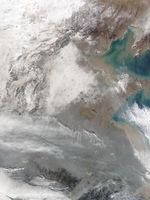 Nieve y contaminación en China oriental