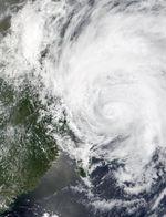 Tifón Rammasun en la costa de China