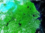 Inundaciones a lo largo del río Sir Daria, Kazajistán