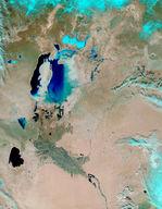 Inundaciones a lo largo del río Sir Daria, Kazajistán (falso color)