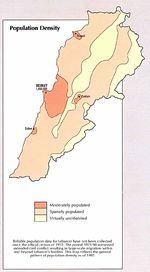 Mapa de la Densidad Poblacional de Líbano