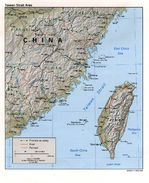 Taiwan Strait Area Shaded Relief Map
