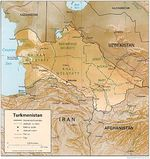 Mapa de Relieve Sombreado de Turkmenistán