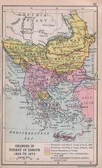 Mapa de Turquía en Europa 1856 Hasta 1878