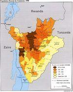 Mapa de la Densidad Poblacional de Burundi