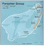 Farquhar Group Shaded Relief Map, Seychelles