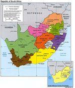 Mapa de las Provincias de Sudáfrica