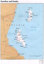 Zanzibar and Pemba Islands Political Map