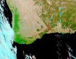 Anaglifo, superposición Landsat, área costera austral de Oman
