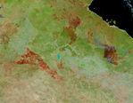 Imagen, Foto Satelite de Deforestación y Fuegos, Edo. Mato Grasso, Brasil