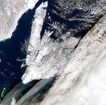 Grandes sombras de nubes cerca de Terranova