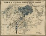 Havana Map, Showing Plan of Water Main Distribution, Cuba 1899