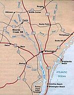 Mapa de la Región de Campo de Batalla Nacional Moores Creek, Carolina del Norte, Estados Unidos