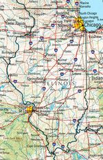 Mapa de Relieve Sombreado de Illinois, Estados Unidos