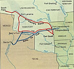 Kearny Battle Route Map, Mexican-American War 1846