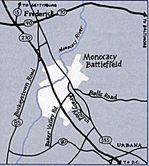 Monocacy National Battlefield Area Map, Maryland, United States