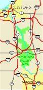 Cuyahoga Valle Área Nacional de Recreación Mapa de la Región de, Ohio, Estados Unidos