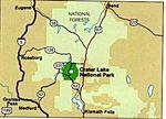 Mapa de la Región del Parque Nacional Crater Lake, Oregón, Estados Unidos
