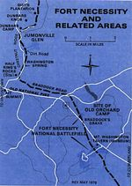 Area Map of Fort Necessity National Battlefield, Pennsylvania, United States
