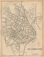 Mapa de la Ciudad de New Londres, Connecticut, Estados Unidos 1880