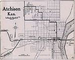 Atchison City Map, Kansas, United States 1920