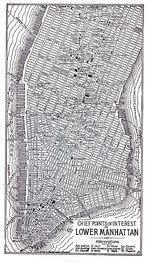 Lower Manhattan Map, New York City, New York, United States 1920