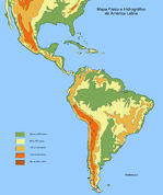 Physical and hydrographic map of Latin America