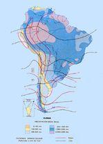 Precipitación media anual de lluvia de América del Sur