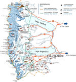 Los Glaciares National Park Map, Prov. Santa Cruz, Argentina