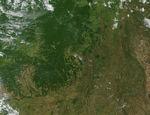 Vista en perspectiva con Landsat de Owahanga, Nueva Zelanda