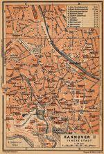 Mapa de Hanóver (Interior de la Ciudad), Alemania 1910