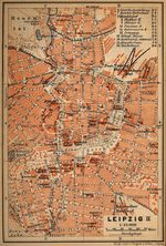 Leipzig (Inner Town) Map, Germany 1910