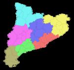 Mapa mudo colorado de Cataluña