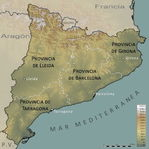 Catalonia physical provincial map