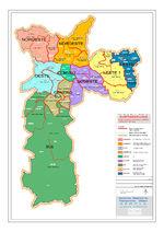 Mapa de las Subprefeituras de la Ciudad de São Paulo, Brasil
